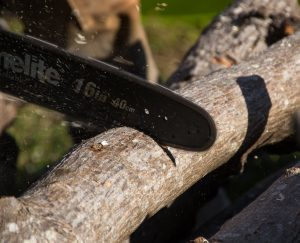 close up of chainsaw cutting branch